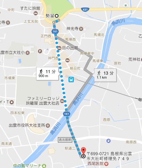 吉兆館駐車場から勢溜の鳥居(正門)