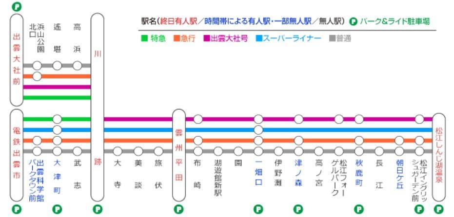 一畑電車の正月(初詣)期間の停車駅と運行時間