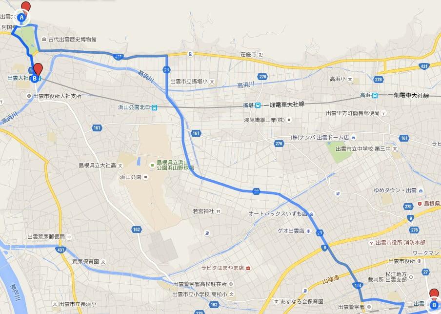 出雲大社とJR出雲市駅と一畑電鉄・出雲大社前駅の位置関係 (2)