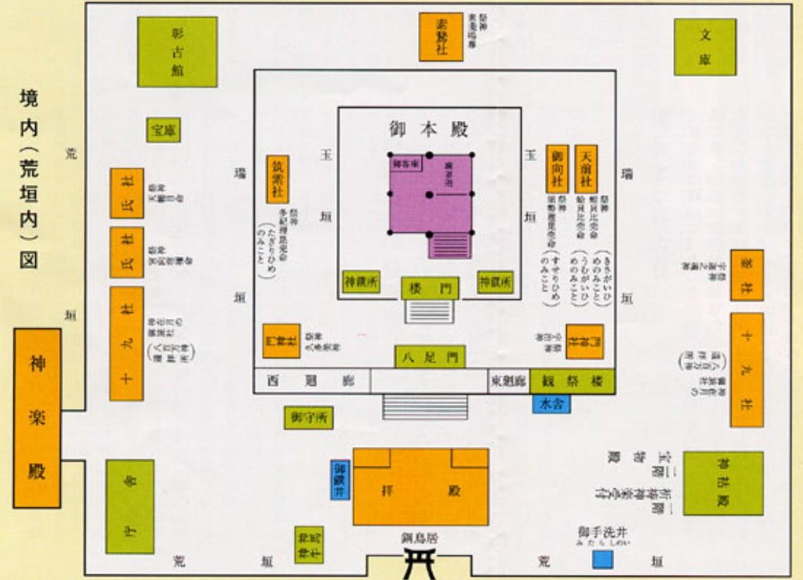 島根県・出雲大社の境内の詳細「案内図(地図)」【その1・荒垣内案内地図】