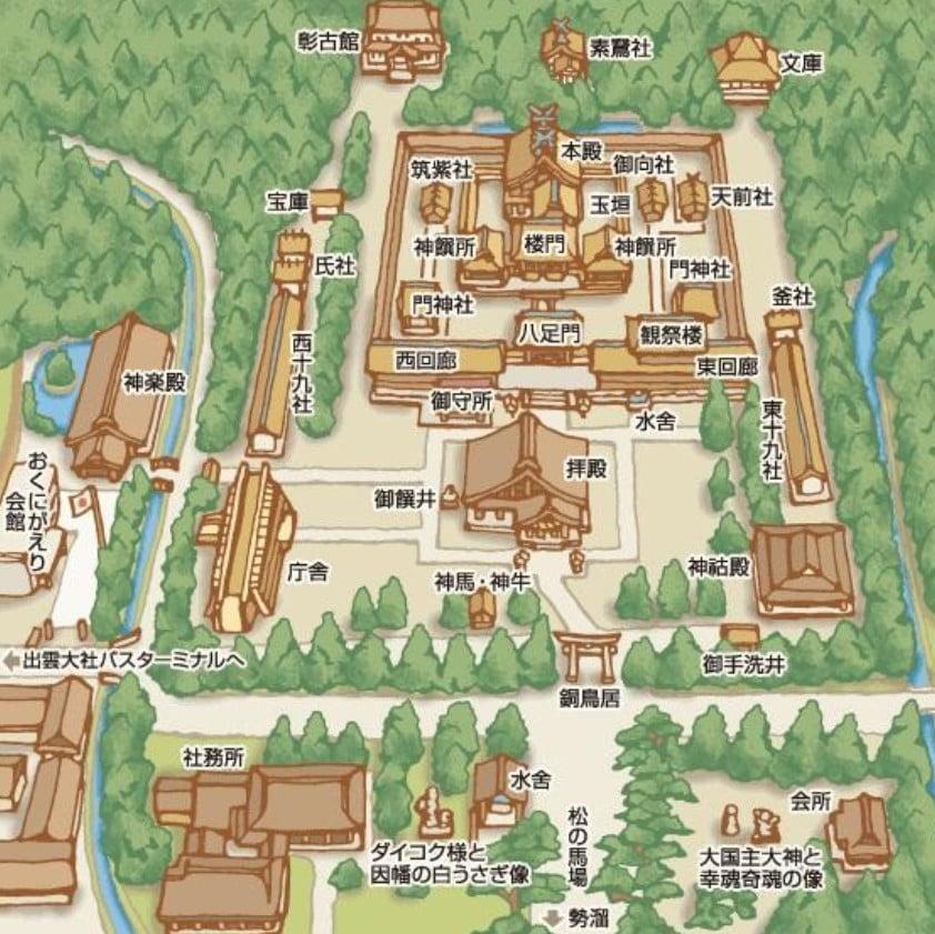 島根県・出雲大社の境内の詳細「案内図(地図)」【その2・境内案内地図】