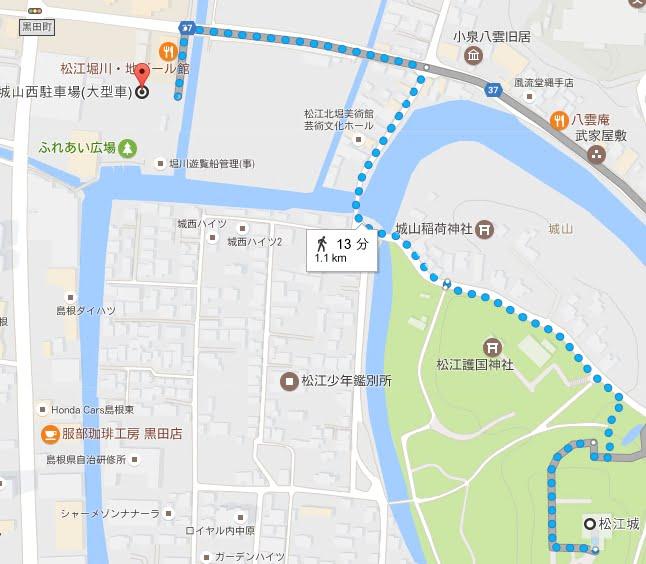 城山駐車場から松江城