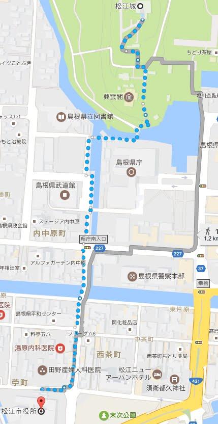 松江市役所から松江城